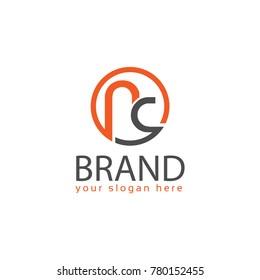 Letter NC, NC letter logo in circle. Flat logo design.