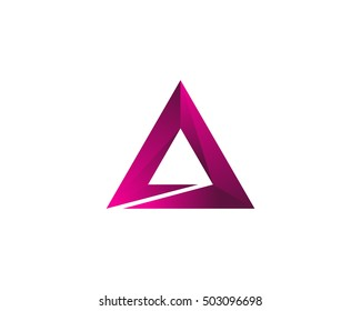 Letter A Negative Triangle Logo Design Template