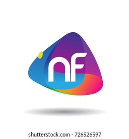 Letter NF logo with colorful splash background, letter combination logo design for creative industry, web, business and company.