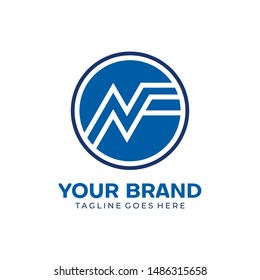Letter NF logo Design icon template elements. Minimal Line Letter Initial NF Logo Design Template. Vector Logo Illustration. Unique modern elegant luxurious artistic. eps 10 editable inspirations