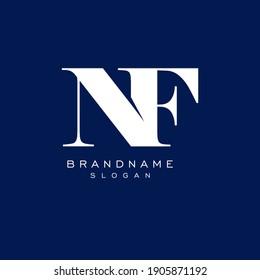 letter NF. Minimalist white logo vector on blue background