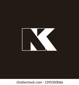 letter nk simple geometric negative space logo vector