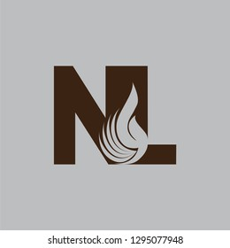 Letter NL design and a combination of fire for logos or icons that are very modern and simple. Vector EPS 10.