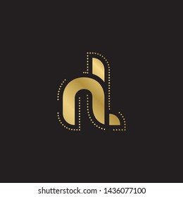 Letter nl linked lowercase logo design template elements. Gold letter Isolated on black  background. Suitable for business, consulting group company.