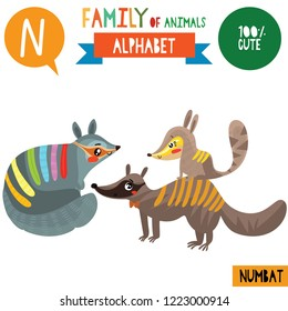 Letter N-Mega big set.Cute vector alphabet with family of animals in cartoon style.