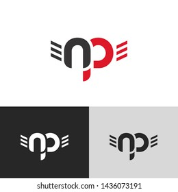 Letter np linked lowercase logo design template elements. Red letter Isolated on black white grey background. Suitable for business, consulting group company.