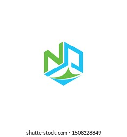 Letter NP logo with box shape icon design company. NP logo illustration vector template.