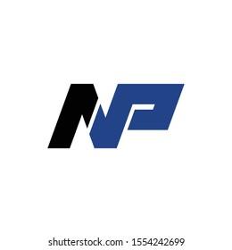 Letter NP simple logo design vector