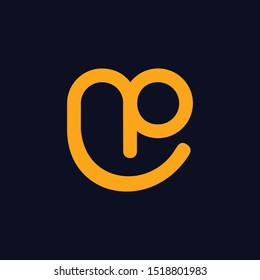Letter NP Smiling Creative Abstract Modern Logo