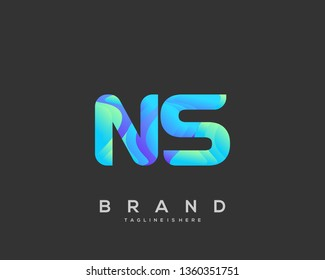 Letter NS logo with colorful circle background, letter combination logo design for creative industry, web, business and company. - Vector