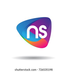 Letter NS logo with colorful splash background, letter combination logo design for creative industry, web, business and company.
