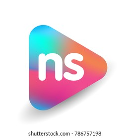 Letter NS logo in triangle shape and colorful background, letter combination logo design for business and company identity.