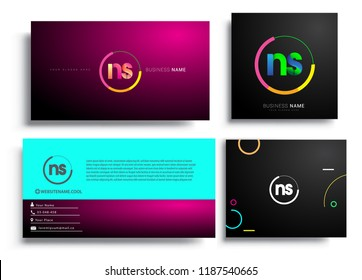 Letter NS logotype with colorful circle, letter combination logo design with ring, sets of business card for company identity, creative industry, web, isolated on white background.
