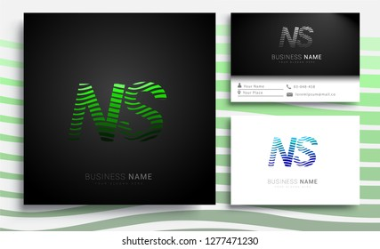 Letter NS logotype with colorful circle, with striped composition letter, sets of business card for company identity, creative industry, web.