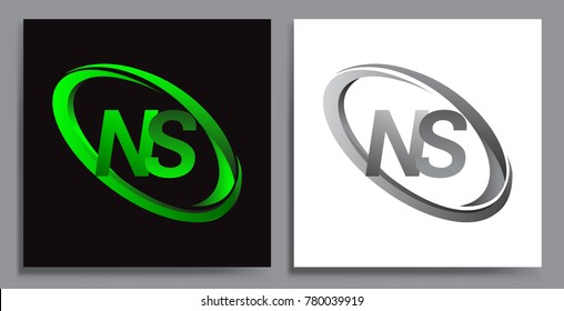 letter NS logotype design for company name colored Green swoosh and grey. vector set logo design for business and company identity.