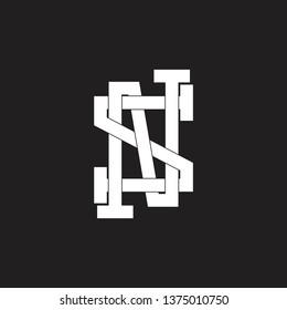 letter ns simple line art grunge design logo vector