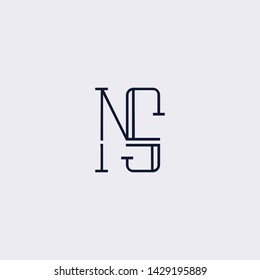 Letter NS SN N Clean and Minimal Initial Based Logo Design