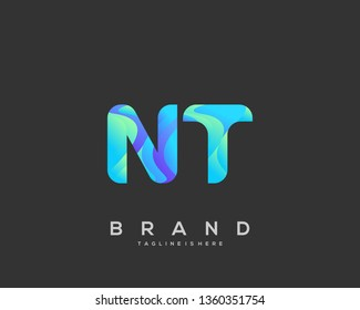 Letter NT logo with colorful circle background, letter combination logo design for creative industry, web, business and company. - Vector