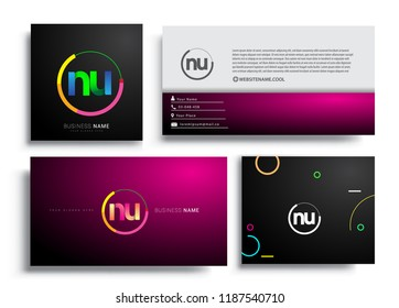 Letter NU logotype with colorful circle, letter combination logo design with ring, sets of business card for company identity, creative industry, web, isolated on white background.