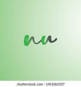 Letter NU logotype with colorful circle, with striped composition letter, sets of business card for company identity, creative industry, web. - Vector