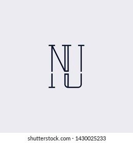 Letter NU UN N Clean and Minimal Initial Based Logo Design