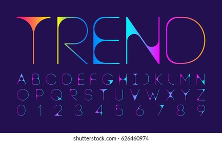 Letter and number modern vector font