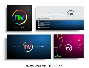 Letter NV logotype with colorful circle, letter combination logo design with ring, sets of business card for company identity, creative industry, web, isolated on white background.