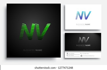 Letter NV logotype with colorful circle, with striped composition letter, sets of business card for company identity, creative industry, web.