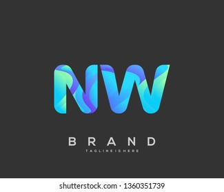 Letter NW logo with colorful circle background, letter combination logo design for creative industry, web, business and company. - Vector