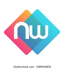 Letter NW logo with colorful geometric shape, letter combination logo design for creative industry, web, business and company.