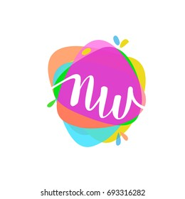 Letter NW logo with colorful splash background, letter combination logo design for creative industry, web, business and company.