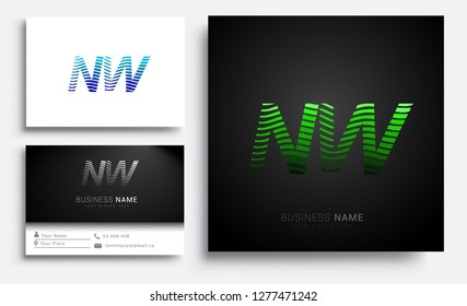 Letter NW logotype with colorful circle, with striped composition letter, sets of business card for company identity, creative industry, web.