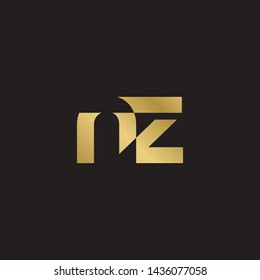 Letter nz linked lowercase logo design template elements. Gold letter Isolated on black  background. Suitable for business, consulting group company.