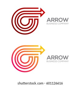 Letter O with Arrow, Exchange, Finance, Business, Moving, Forward Logotype