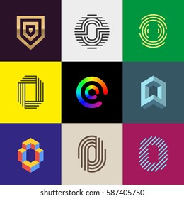 "Letter ""O"" big logo pack. Isometric, minimal, line, colorful, ribbon, geometric, luxury vector monograms. Eps10 format."