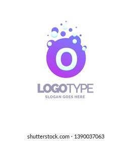 Letter O Bubbles Logo Purple Template. Vector Brand Name Design