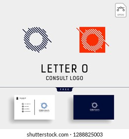 Letter O Business consult logo template with business card grid line icon elements isolated