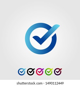 letter o check verified modern logo design icon illustration