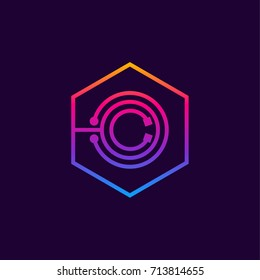Letter O colorful, Dots logo, linear hexagon shape, Digital and Technology logotype for your Corporate identity