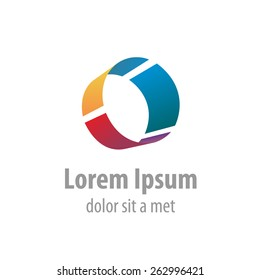 Letter O colorful industrial logo template. Pipe segment.