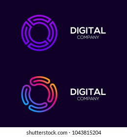 Letter O Colorful logotype with Three Line, Square and Circle shape Maze Labyrinth, Technology and Digital Connection Link concept for your Corporate identity