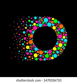 Letter O in Dispersion Effect, Scattering Circles/Bubbles,Colorful vector
