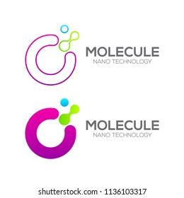 Letter O with Dot and Curve ,Circles shape connected, Molecule and Nano Technology logotype, innovation tech, Medicine, Science, Laboratory, Cosmetics