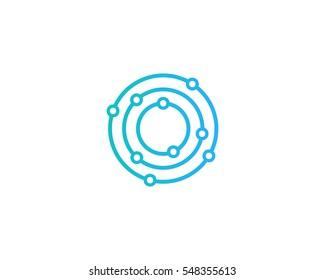 Letter O Dot Orbit Logo Design Element