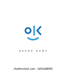 Letter O and K logo or OK initials two modern monogram symbol concept. Creative Line sign design. Graphic Alphabet Symbol for Corporate Business Identity. Vector illustration