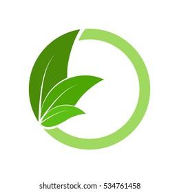 letter o with leaf logo design