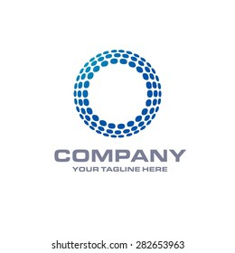 Letter O logo , Blue Bold sphare logo on white background . Place for Company name and tag line . Business logo - vector illustration
