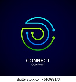 Letter O logo, Circle shape symbol, green and blue color, Technology and digital abstract dot connection