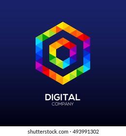Letter O Logo Design. Hexagon logo, Polygon logo, Digital, Media