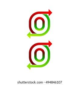 Letter O logo design template. Arrow creative sign